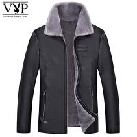 花花公子贵宾男士秋冬加绒加厚皮衣外套男士时尚休闲保暖皮夹克外套
