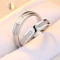 情侣戒指女 S925银饰品韩版开口对戒男一对活口创意刻字