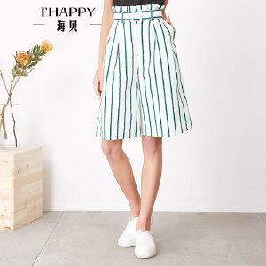 海贝夏季新款女装休闲裤高腰木耳边腰带收腰条纹阔腿裤五分裤
