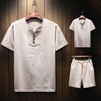 男士短袖t恤男装亚麻V领修身半袖夏款体恤潮牌青年上衣服男套装潮