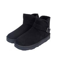 2019款雪地靴女短靴矮筒韩版边扣保暖加厚防滑女鞋情侣款学生棉鞋