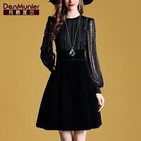 丹慕妮尔法国小众复古连衣裙2019秋装新款黑色长袖拼接气质A字裙
