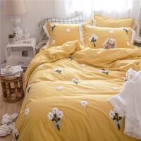 韩式简约清新小雏菊公主风全棉床单四件套刺绣被套水洗棉纯棉床品