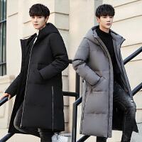 吉普盾2019新款长款过膝加厚羽绒服男青年冬季韩版修身男士中长帅气外套
