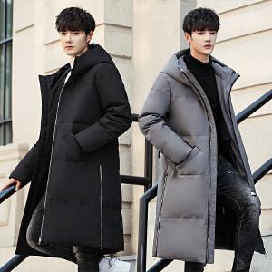 2019新款长款过膝加厚羽绒服男青年冬季韩版修身男士中长帅气外套