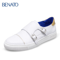 benato宾度 休闲鞋搭扣纯色户外 平底 板鞋男鞋 男士皮鞋