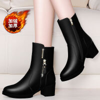 【软皮】秋冬季短靴女鞋粗跟时尚女单靴中跟加绒雪地靴女靴子