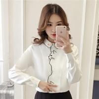 韩版修身猫咪刺绣白色衬衫女2019秋冬女装上衣宽松气质衬衣女 白色 X