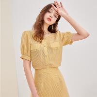 三彩2020夏季新款圆领毛边格子灯笼袖衬衫高腰短裙两件套女