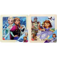 迪士尼拼图玩具 9片木制框拼经典版二合一(冰雪奇缘2689+苏菲亚2690)