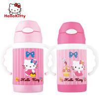 Hellokitty保温杯凯蒂猫儿童双把手吸管水杯子KT猫3D图案3730