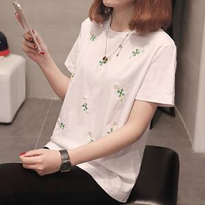 新款上衣宽松短袖t恤女装夏季衣服韩版百搭学生半袖女