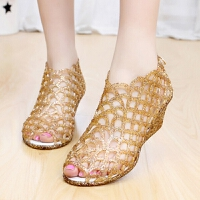 新款坡跟鱼嘴凉鞋女士中跟镂空鸟巢塑料水晶果冻鞋夏季沙滩鞋 金色 36(偏小一码)