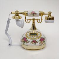 至臻陶瓷仿古电话免提背光 卧室客厅欧式田园有绳家庭固定座机