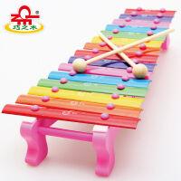 巧之木木琴15音手敲琴婴儿音乐玩具宝宝敲琴玩具乐器儿童1-2周岁手敲琴 彩色