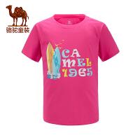 骆驼夏季儿童T恤女青少年休闲圆领短袖吸汗透气上衣