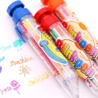 明达 8色按动闪光笔 八合一日记笔闪亮笔 8色按动蜡笔 8色按动荧光笔