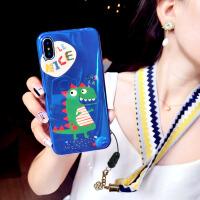 卡通丝巾挂绳苹果xs手机壳硅胶7plus潮牌iphone8个性创意6s新款女 iphone7/8 蓝色