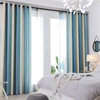 窗帘成品亚麻条纹遮光布简约现代卧室客厅阳台飘窗落地窗2019新款
