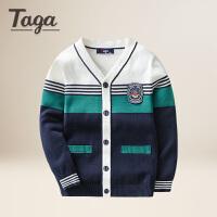 TAGA童装 男童开衫2017新款春装全棉针织衫中大童毛衣外套英伦时尚