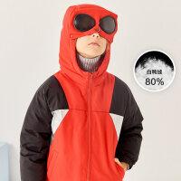 moomoo童装男童羽绒服冬装新款儿童时尚拼色带眼镜运动风厚外套潮