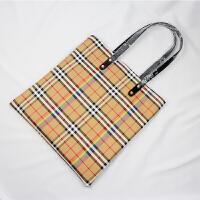 2018新款英伦风彩虹格子条纹单肩包欧美购物袋手提包袋女士大包包