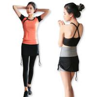 瑜伽服女套装时尚高腰短袖长短裤四件套跑步运动服装