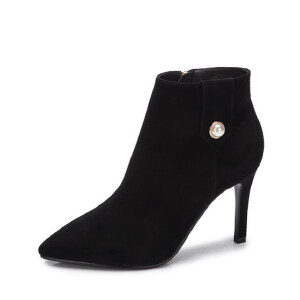 camel 骆驼女鞋  冬季新款 时尚绒里超高跟短靴 简约尖头细跟女靴子