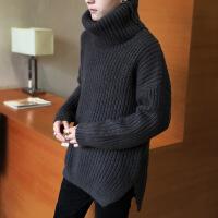2018新款纯色高领毛衣男士秋冬季情侣装韩版针织毛衫宽松加厚外套 深灰色 M