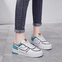 新款小白鞋女百搭韩版基础春季厚底纯皮面板鞋显脚小的鞋子