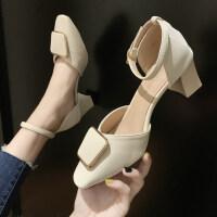 凉鞋女2019新款韩版夏季粗跟高跟鞋凉鞋女仙女风包头浅口凉鞋女潮