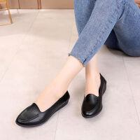 春季妈妈鞋单鞋中老年鞋子女平底底工作鞋中年妇女皮鞋浅口鞋