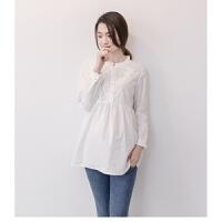 孕妇衬衣长袖中长款春秋上衣韩版大码宽松打底立领职业装白色衬衫