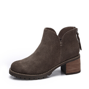 camel/骆驼女鞋 2017冬季新款 简约百搭方跟踝靴 时尚高跟磨砂短靴子女