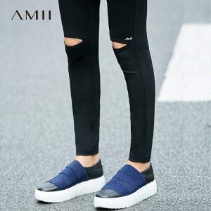 Amii[极简主义]秋装新印花镂空弹百搭外穿修身打底裤11774603