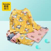 秋季新款婴幼儿内衣套装小动物印花春秋婴儿长袖睡衣儿童秋衣秋裤套装