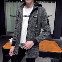 2018春秋季新款男士外套韩版修身连帽夹克男装休闲帅气中长款风衣