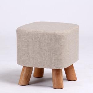 凳子 换鞋凳布艺沙发凳子儿童小圆凳家用实木小板凳田园简约时尚可拆洗四脚矮凳创意家具