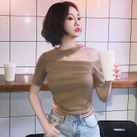 韩版一字露肩上衣夏装2018潮黑色漏肩T恤女短袖紧身女装