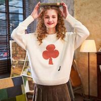 限时抢购价149唐狮冬季韩版新款圆领宽松个性女毛衣宽松套头针织衫外穿潮流