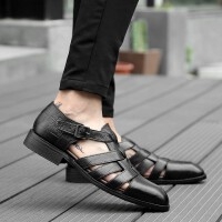 新款夏季男凉鞋真皮镂空包头男士皮凉鞋商务正装皮鞋男日常休闲鞋