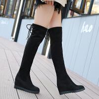 女士长筒靴子秋季2018新款韩版秋冬内增高学生绒面弹力过膝靴仙女 黑色