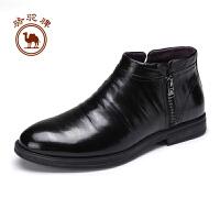 骆驼牌男靴子  冬季男士耐磨舒适短筒皮靴日常休闲拉链男鞋