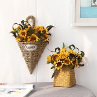 御目 挂件 向日葵仿真花篮壁挂摆设假花套装摆件欧式家居客厅餐桌茶几装饰品挂饰