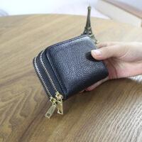 卡包零钱包新款双拉链风琴卡包女式卡夹男士套零钱包卡片包驾驶证 黑色 卡袋+零钱袋