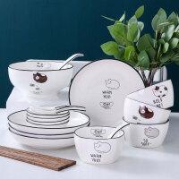 餐具套装 可爱陶瓷插画手绘风釉上彩卡通猫咪碗盘套装家用4人创意简约日式碗碟碗盘筷餐具组合