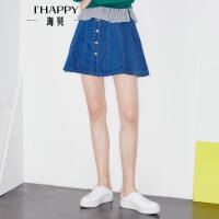 海贝2017秋季新款女装牛仔半身裙 学院风高腰修身显瘦百褶短裙