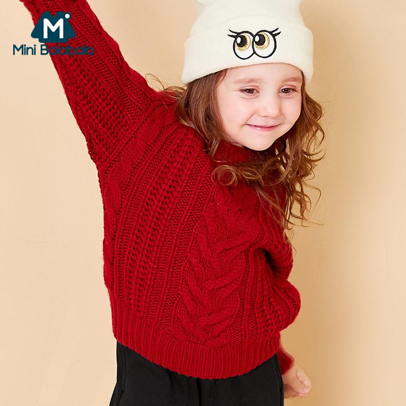 【尾品价:95】迷你巴拉巴拉儿童毛衣套头女童加厚针织毛衫小童宝宝保暖秋冬装