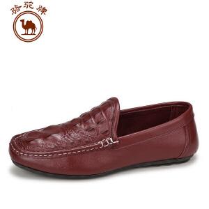 骆驼牌 夏季新品男士豆豆鞋 休闲皮鞋英伦套脚男鞋