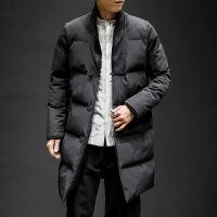 冬季外套男韩版帅气面包服立领棉衣男中长款潮牌宽松加厚修身 黑色 M